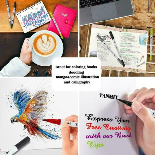 Multi Colors Dual Tip Brush Markers Pens Painting Calligraphy Watercolor R9V5