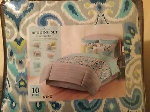Home Classic 10 Piece Interlude King Size Bedding Set New In Bag W