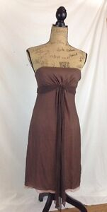 BCBG-Max-Azria-Brown-SILK-chiffon-strapless-dress-lined-in-pink-size-2