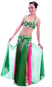 New-Belly-Dance-Costume-3-Pics-Bra-amp-Belt-amp-Skirt-34B-C-36B-C-38B-C-40B-C-12-Colors