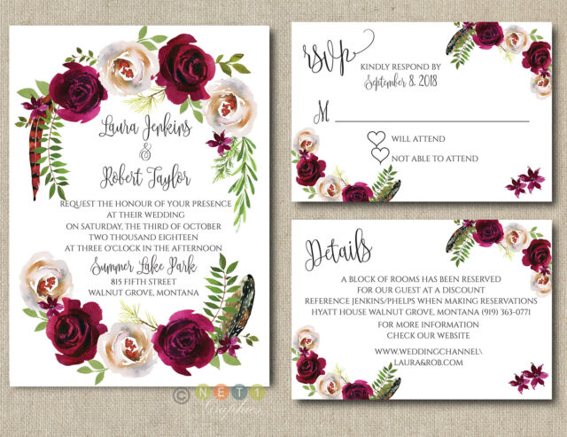 Personalized Wedding Invitations.Personalized Wedding Invitation Boho Burgundy Floral With Envelopes