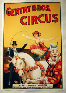Large-Format-HiQ-Facsimile-of-1920-Gentry-Bros-Circus-Poster-Equestrian-36x24