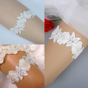 Luxury-Lace-Bridal-Garter-Something-Blue-Pearl-Flower-Beaded-Wedding-Bride