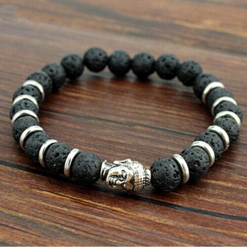 Les grands hommes Lava Stone Skull Tête de Bouddha Perles Rock Élastique Bracelet Bangle