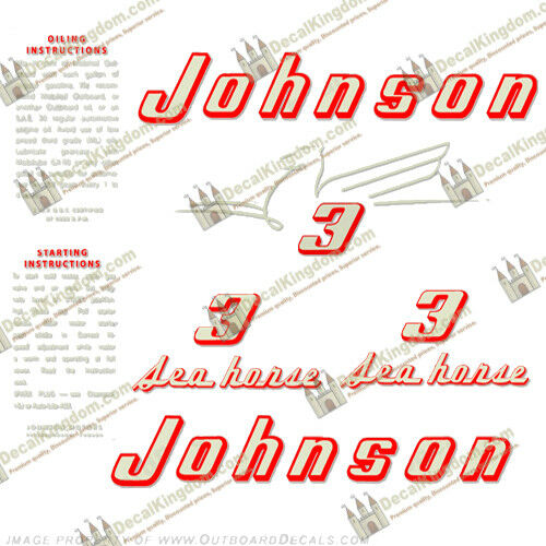 Johnson 1955 Vintage Outboard Engine Decals (Multiple Styles) 3M Marine Grade