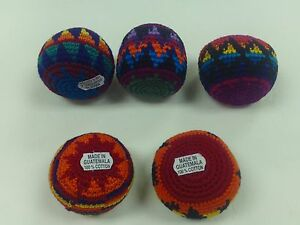 SET OF FIVE ORIGINAL HACKY SACK SAC KICK BALL FOOTBAG GUATEMALA 100% COTTON