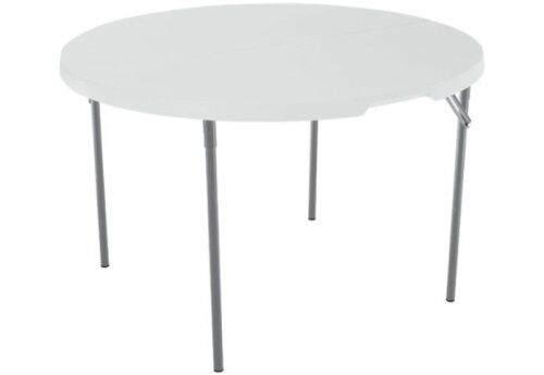 Lifetime Round Plastic Table 280064 48-inch White With Fold-in-Half Top and Fold