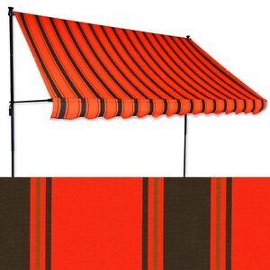 klemm markise 2 x 1 2m orangerot schwarz balkonmarkise spannmarkise sonnenschutz ebay. Black Bedroom Furniture Sets. Home Design Ideas