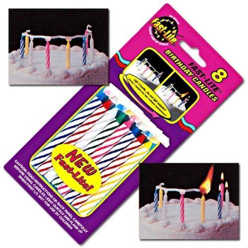 0,8x8cm bunte /'Fast Lite Candles/' Tortenkerzen für Kinder 8er Set