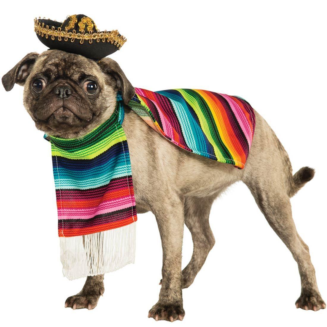 Haustier Hund Katze Mexikanischer Poncho Sombrero Hut Kostüm Kleid Kostüm Outfit    Glücklicher Startpunkt