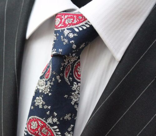 Tie Neck tie Slim Navy Blue with Red /& White Paisley Quality Cotton T6142