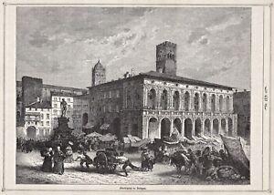 Bologna, Italien, Italia - Markt, Marktplatz - Stich, Holzstich 1875
