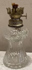 Adorable-Small-Clear-Hobnail-Glass-Oil-Kerosene-Hurricane-Lamp-Glass-4-Tall