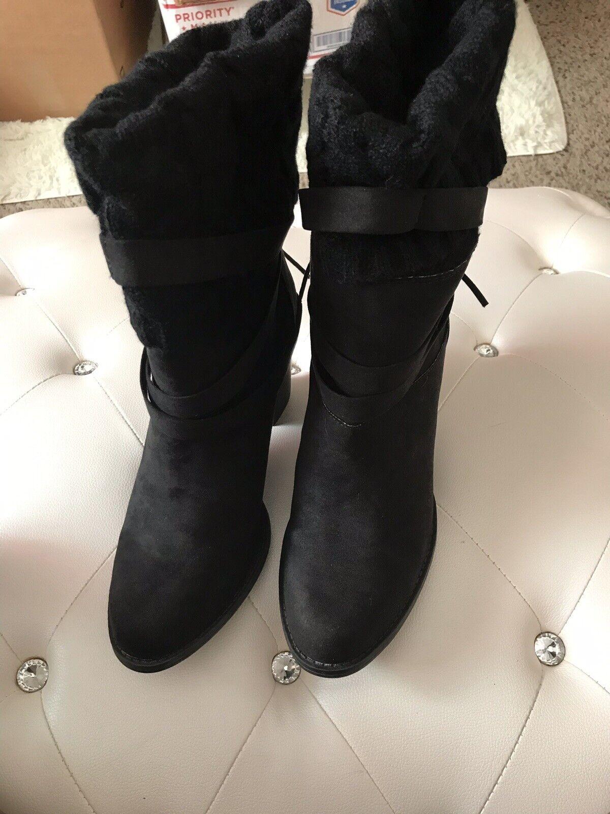 NEW shoes Dazzle Deyona Black Faux Suede Sock Booties 11M  62.95