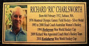 "RICHARD ""RIC"" CHARLSWORTH Hockey Plaque gold"