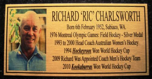 RICHARD RIC CHARLSWORTH Hockey Plaque gold