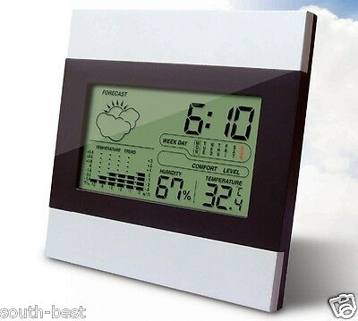 Home Garden LCD Digital Weather Station Alarm clock thermometer hygrometer