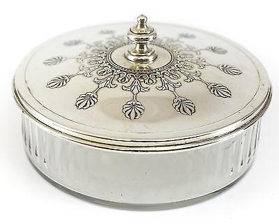 Tiffany & Co Makers Sterling Silver & Glass Vanity Powder Jar c.1930