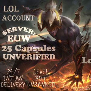 League of Legends Account EUW LOL Smurf 25 Capsules BE IP Level30+ Unranked
