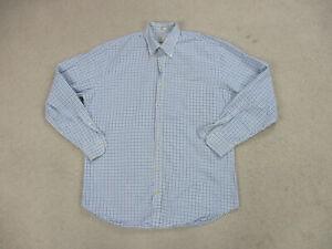 Peter Millar Button Up Shirt Adult Large White Blue Purple Plaid Casual Men