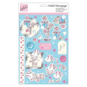 docrafts Anita/'s Foiled Decoupage Birthday Bears A4 Sheet
