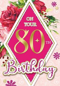 On your 80th Birthday Card. Red Roses. Card For Age 80 Female