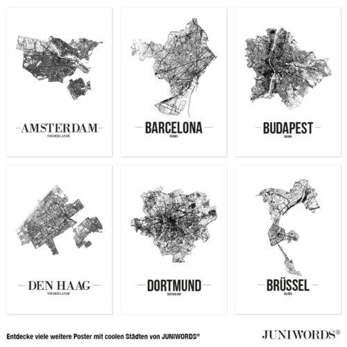 Weiß JUNIWORDS Stadtposter Kunstdruck Plan Map Meppen