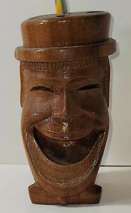 Vintage Small   Hand Carved Wood Boot Pencil/Pen  Holder Desk Decor Man cave H1