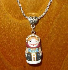 TINY Russian Doll MATT Matrioshka HAND PAINTED pendant silver chain BURMISTROVA