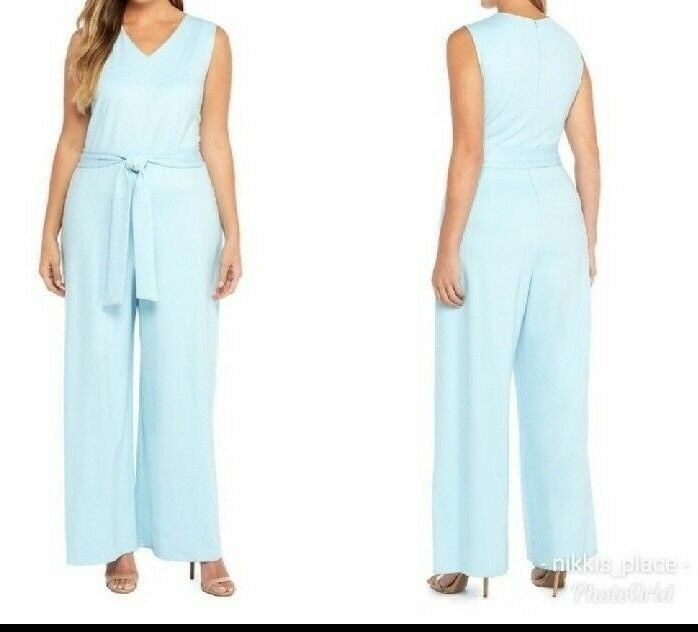 NWT The Limited Womens Plus Size 3X Tank Top Full Body Jumpsuit Crystal bluee NEW