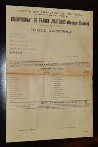 RARE-FOOTBALL-FFF-CHAMPIONNAT-FRANCE-AMATEURS-1953-FEUILLE-D-039-ARBITRAGE-CENTRE