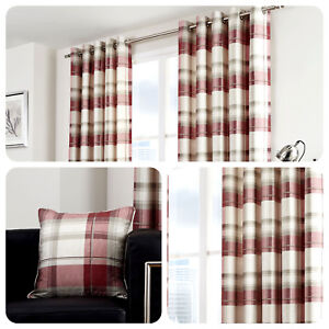 Fusion-BALMORAL-CHECK-Ruby-Red-Tartan-100-Cotton-Eyelet-Curtains-amp-Cushions