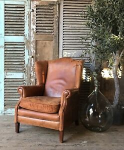 Astonishing Details About Rustic Vintage Dutch Leather Wingback Chair Gmtry Best Dining Table And Chair Ideas Images Gmtryco