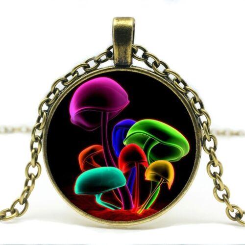 Collier pendentif chaîne champignon choisir couleur Noir bronze argent champignons Trippy
