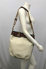 GUCCI PURSE CANVAS WITH STRIPED BROWN LEATHER GOLD STUDS ROPE HANDLE & STRAP