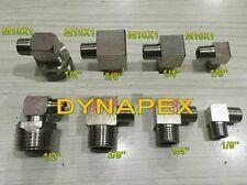 """Pipe to Metric Fitting 1/4"""" NPT Male to M10 M10X1 Male Gauge Meter 90 Deg N-HA"""