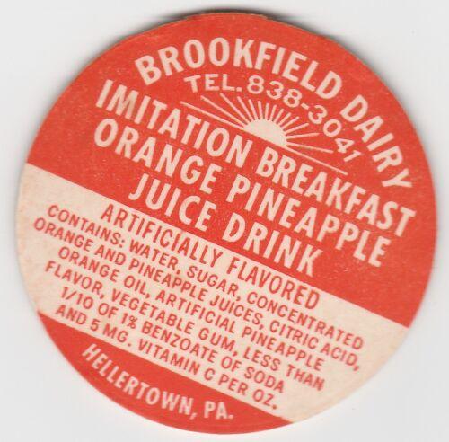 PA. HELLERTOWN BROOKFIELD DAIRY MILK BOTTLE CAP