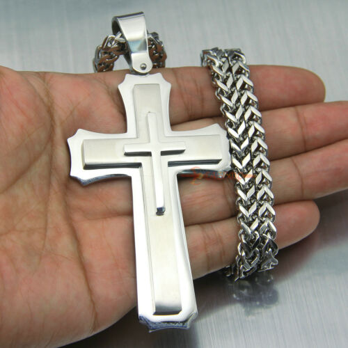 Huge Stainless Cross Men/'s Necklace Pendant Heavy Large Silver Polished 3 Layer