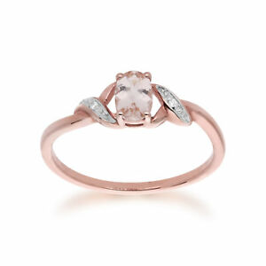 Gemondo-9-KT-ROSE-ORO-0-40-KT-in-Morganite-amp-Anello-Di-Diamanti