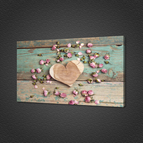 WOODEN HEART ROSES CANVAS PRINT PICTURE WALL ART HOME DECOR MODERN DESIGN