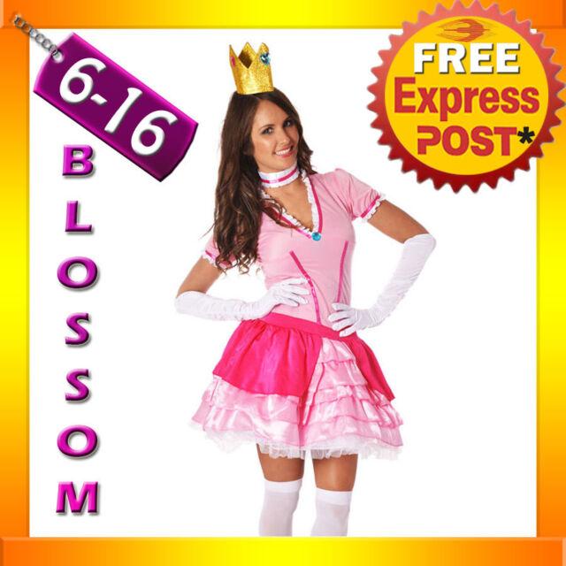 I46 Princess Peach Super Mario Bros Nintendo Games Fancy Dress Up Party Costume