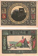 Germany 50 Pfennig 1921 Notgeld Lobeda AU-UNC Banknote - Blue Version