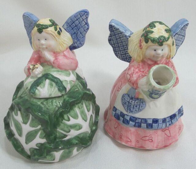 Vintage - Cream & Sugar Set Fairy - Angel  WANG'S International Inc Porcelain