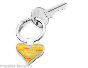 TROIKA-034-WAVY-HEART-034-Schluesselanhaenger-Herzform-gelb-Metall-Emaille-glaenz