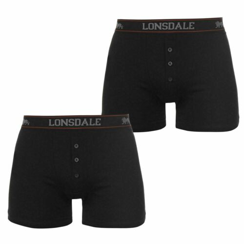 NEW GUYS ADULTS  BLACK 2 PACK LONSDALE BOXER UNDERWEAR SHORTS SMALL 4XL  BNWOT