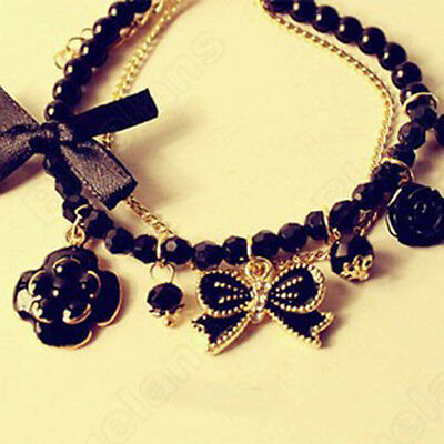 Fashion Women Girl Ribbon Beads Flower Bowknot Charm Chain Bracelet Jewelry Gift