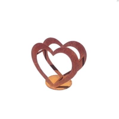 Herz Aus Metall - Holz-regal - Edel-rost - Garten Terrasse - Deko - Toll!! QualitäT Und QuantitäT Gesichert
