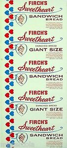 Vintage bread wrapper FIRCHS SWEETHEART girl pictured Erie PA new old stock nrmt
