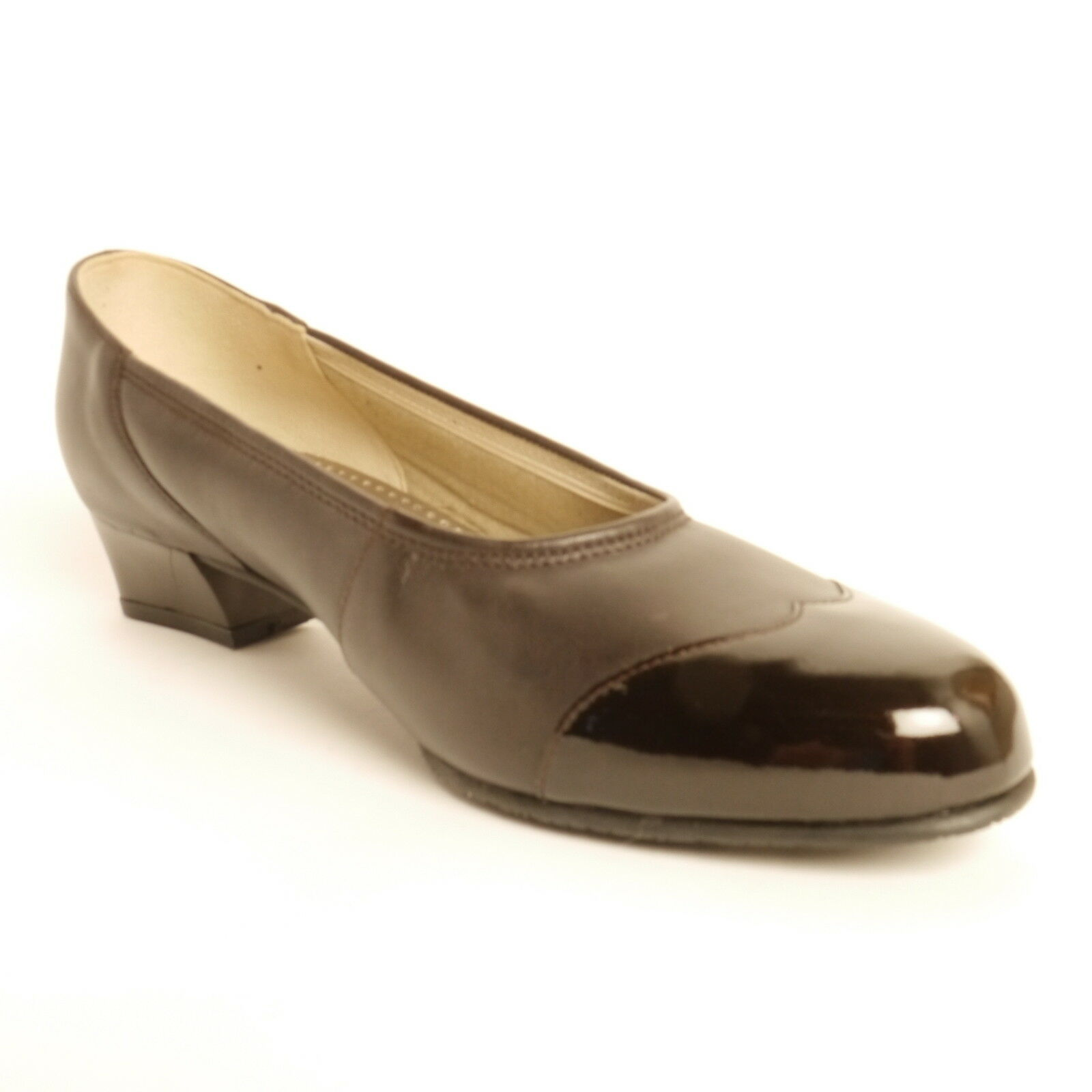 Equity Felicity Low Heel Brown Court shoes E  Wide Fitting