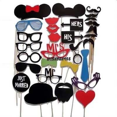 31PCS DIY Masks Photo Booth Props Mustache On A Stick Wedding Birthday Party USA